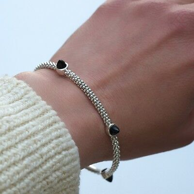 New LAGOS Caviar Silver & Black Onyx Bangle Bracelet -Medium NWT