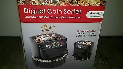 Cassida C200 COIN SORTER, 2000 Coins Capacity LED Display COIN COUNTER