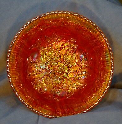 "Large 10"" Fenton Marigold Carnival Glass Open Rose 3 Footed Bowl Sawtooth Edge"
