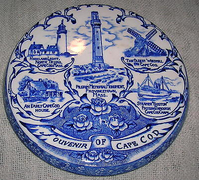 Vintage Souvenir of Cape Cod Blue Transferware Hot Plate - Made in Japan