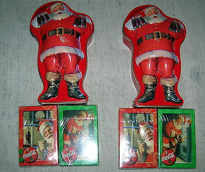 Lot of 2 Coca Cola Santa Tins with 2 Sets of Playing Cards each