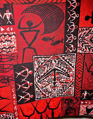 Pr. vintage abstract tiki impressionist tropical fabric cotton curtain panels!