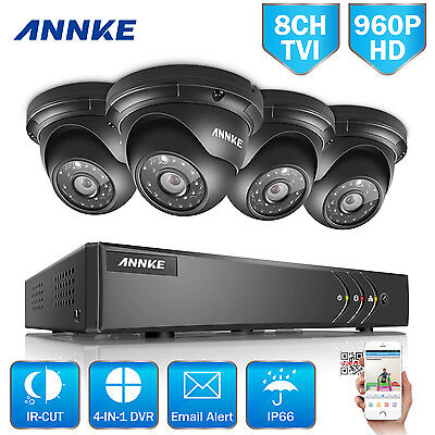 ANNKE 8CH HD 1080N 960P 1.3MP Outdoor CCTV Home Security Camera System IR Night