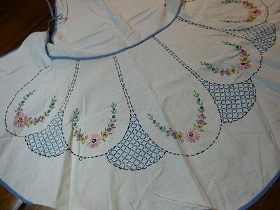 Vintage Hand Embroidered Cotton Bib Apron French Knot Embroidery