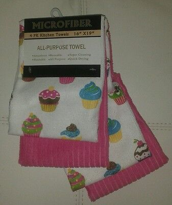 NWT CUPCAKES PINK SET 4 MICROFIBER ALL PURPOSE KITCHEN HAND TEA TOWELS 16x19
