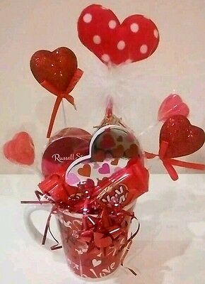 Valentines Heart Pen Coffee Mug Cup Russell Stover Chocolates Candy Gift Basket