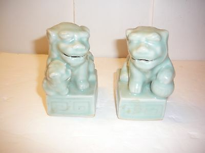 """Pair of Chinese Foo Dog Bookend Statues - 4"""" Tall - Made in China"""
