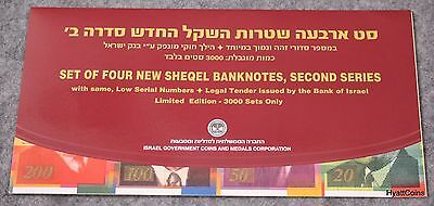 1999 Israel Set of 4 New Sheqel Banknotes Low Serial Numbers 20 50 100 200 NIS
