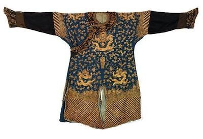 Rare Qing Dynasty Gold And Blue Silk Embroidery Five Claws Nine Dragons Robe