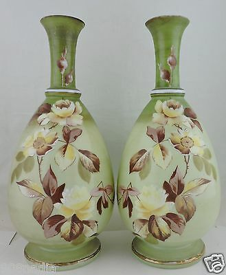 Antique Bristol Art Glass Vase Pair Sage Green Yellow Rose Flower Hand Painted