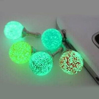 1Pc Cell Phone Crystal Luminous Anti Dust Cap Earphone Plug Jack Stopper Random