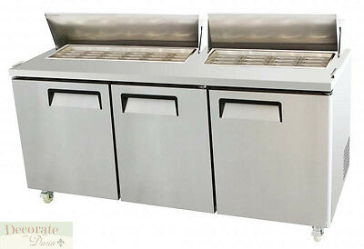 """SALAD SANDWICH PREP TABLE 73"""" REFRIGERATED 3 Door 30 Pans 22 Cu Ft Stainless New"""