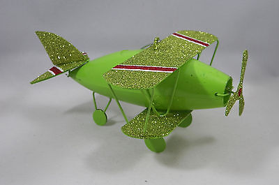 Green Glittered Metal Plane Christmas Tree Ornament new holiday
