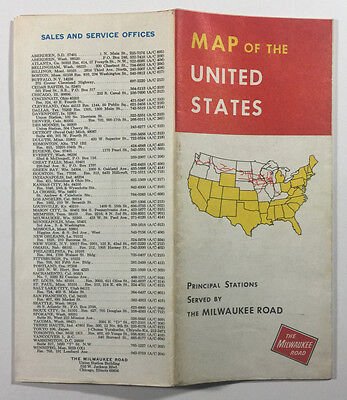 Map of the United States, The Milwaukee Railroad Vintage Brochure, 1973