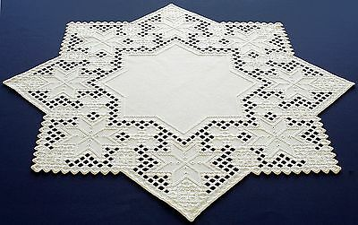 HARDANGER NEW BEAUTIFUL  HANDCRAFTED Christmas star white  31 '' x 31 ''