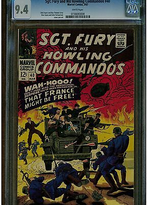 Sgt The Howling And His Commandos #40 Cgc 9.4 1967 Dick Ayers White Pages