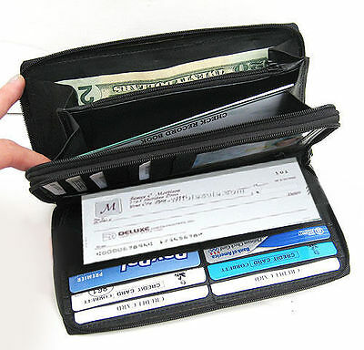 Long Clutch Solid Leather Wallet Clutch ID Card Checkbook Holder 2 Zip Black 544