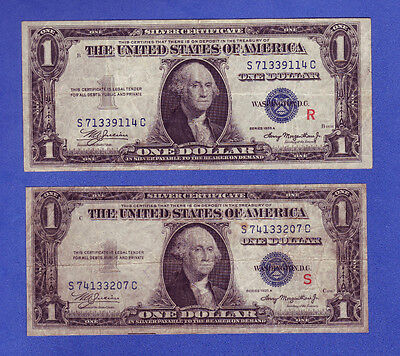 1935-A 1$ Silver Certificate Experimental Notes R & S Blue Seal - Set Of 2