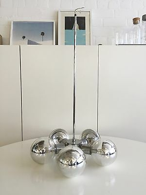 Retro Vintage 50 60s Feature Chrome Glass Ball Light Fitting
