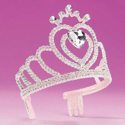 Silver Tiara With Heart Stone - Princess Fancy Dress - Dance Costume Accessory