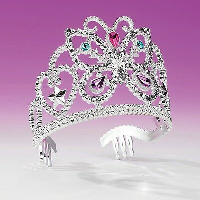Silver Plastic Butterfly Tiara  - Princess Fancy Dress - Dance Costume Accessory
