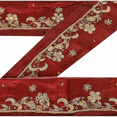 Vintage Sari Border Antique Hand Beaded 1 YD Indian Trim Ribbon Maroon Lace
