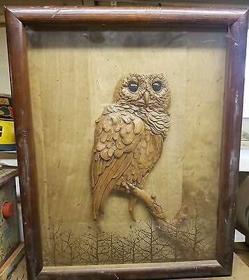 Vintage Owl in Tree Picture in Wooden Frame - Ready to Hang 371464