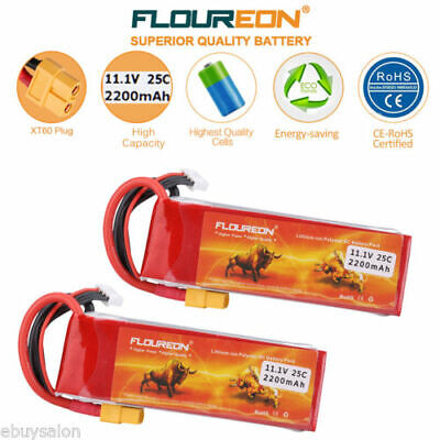 2X 6000mAh 11.1V 3S 35C Lipo Battery Pack Deans Plug for RC Helicopter Car Truck