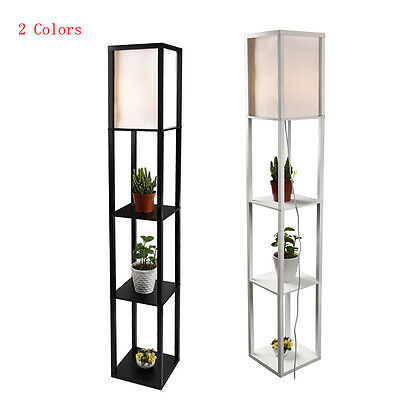 Modern Shelf Floor Light Off White Lamp Shade Storage Bed Living Room Home Black