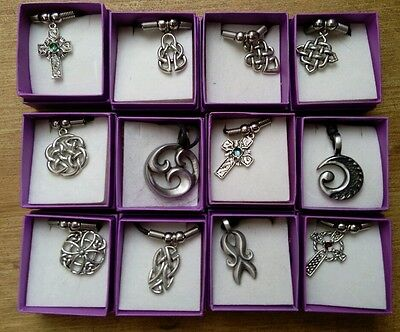 Job Lot 12 New/boxed Celtic Themed Metal/pewter Pendants On Cord