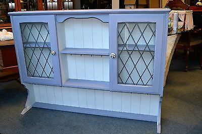 Vintage painted farmhouse dresser top stand with led glazed doors shabby chic