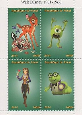 "DISNEY BAMBI MONSTERS INC 4.5"" x 3.5"" TCHAD 2014 MNH STAMP SHEETLET"