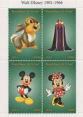 "DISNEY THUMPER SNOW WHITE MICKEY MINNIE 4.5"" x 3.5"" 2014 MNH STAMP SHEETLET"