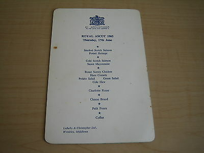 vintage horseracing royal ascot letherby & christopher lunch menu 17th june 1965