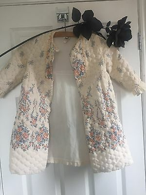 True Vintage Miss Slenderella Dressing Gown Bed Coat Quilted Age 2 Floral Nylon