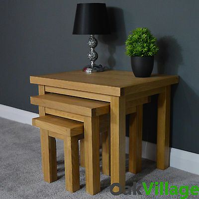 Oakwood Oak Nest Of Tables / Side Table / Solid Wood / End Table / Brand New