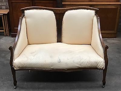 Edwardian Inlaid Beech Parlour 2 Seater Settee PROJECT