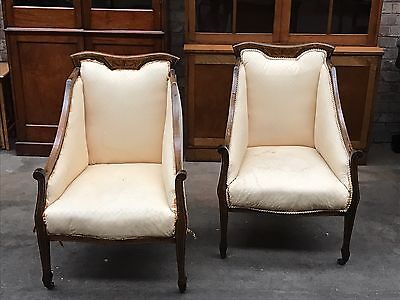 Pair Of Edwardian Inlaid Beech Parlour Easy Chairs PROJECT