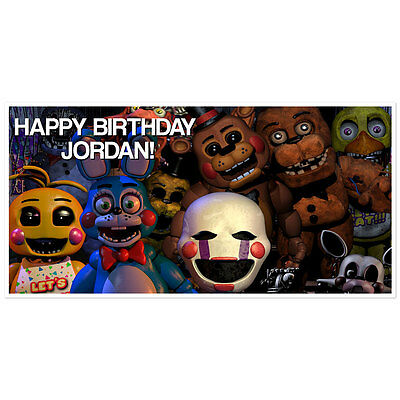 Five Nights at Freddys Birthday Banner Personalized Party Backdrop