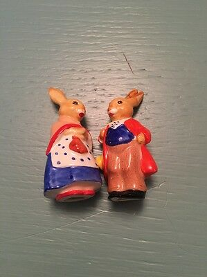 Two Small Dressed China Rabbit Ornaments