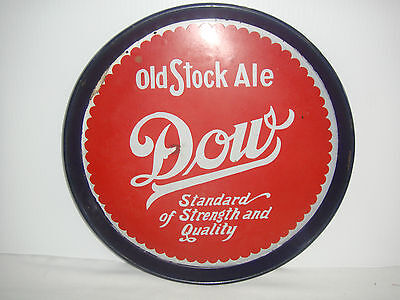 vintage advertising sign beer tray old stock ale Dow 12 1/2 inches diameter