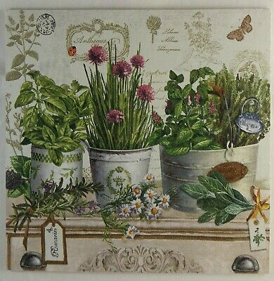 French Country Herbs & Pots Shabby Vintage Chic Kitchen Wooden Picture Plaque