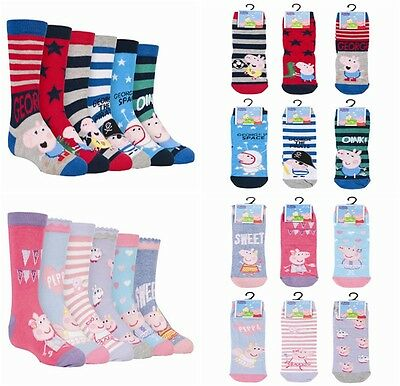 6 Pairs childrens Bright Cute Patterned Cotton Rich Peppa Pig / George Socks