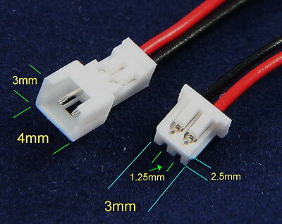 Micro JST 1.25mm GH PH 2-Pin Male & Female Connectors w/Wires UK Stock FreeP&P