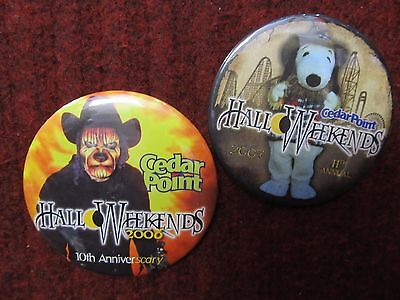 2 Cedar Point Ohio Amusement Park Hallo Weekends Pin Back Buttons ~ 2006 & 2007