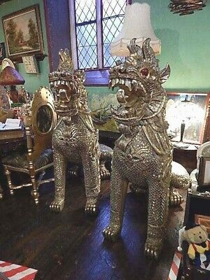 Huge Vintage Wood Hand Carved Temple Feng Shui Foo Dogs/Lions Animals Pair H 5ft