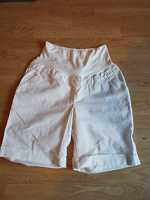 Blooming Marvellous Over Bump White Linen Shorts Size 12