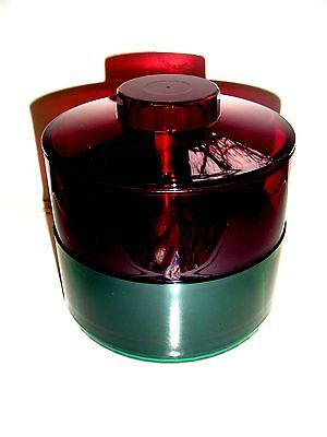 """Tupperware rare watercolors red green candy dish 4 1/2 """"H 5 """"W * Brand New * *"""