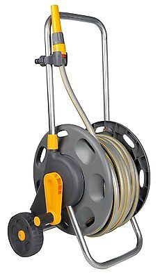 Hozelock 60m Assembled Long Garden Water Hose Pipe Reel Cart with 50m Hose
