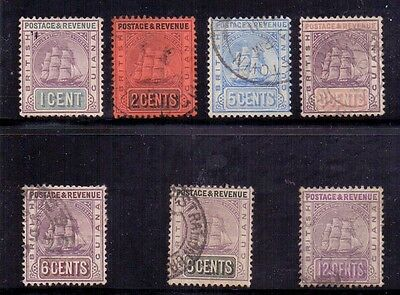 British Guiana. 7 used stamps. Crown CA. 1889 to 1903